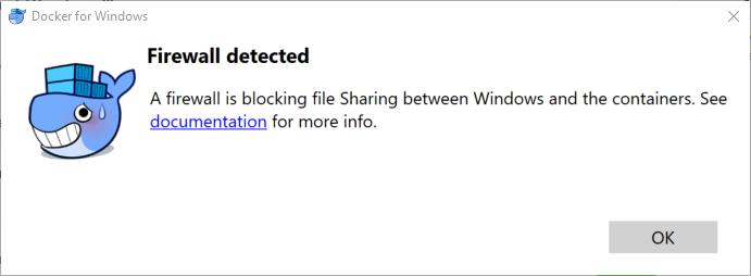 Solve Docker for Windows error: A firewall is blocking file
